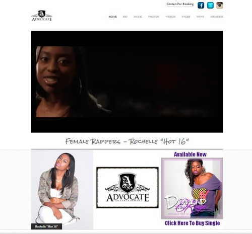 Rochelle Hot 16 web page